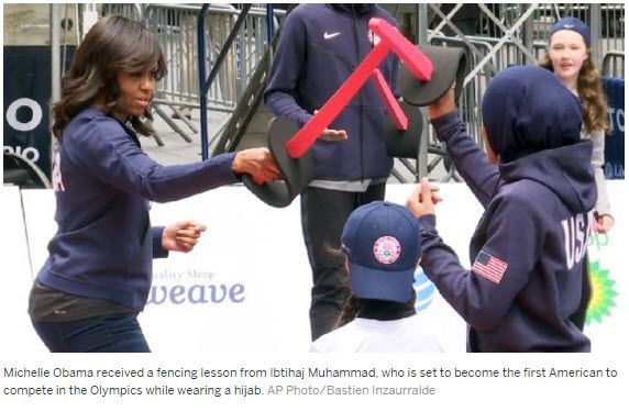 Michelle Obama gets fencing lesson from Olympian Ibtihaj Muhammad