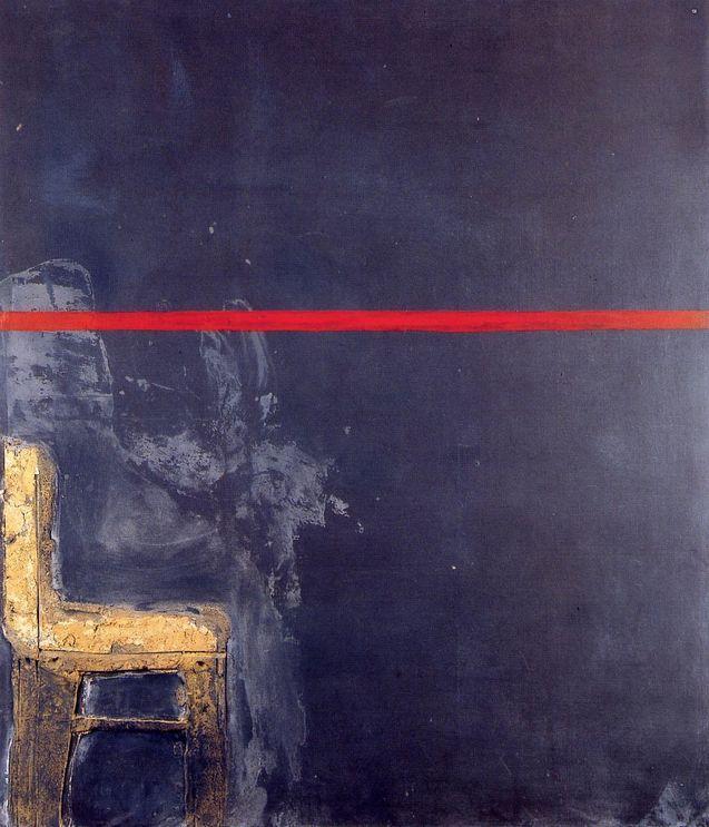 Antoni Tàpies: Negre amb linia vermella, 1963 tecnica mista su tela 195x170 cm