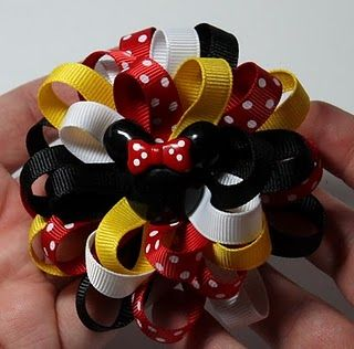 how to make hair bowsHairbows, Hair Bow Tutorial, Disney Crafts, Make Hair Bows, Bows Tutorials, Loopy Flower, Minnie Mouse, Flower Hair Bows, Disney Bows