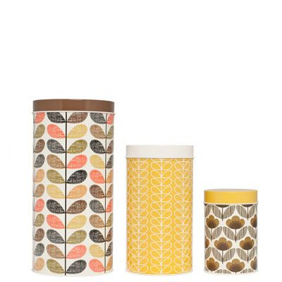 Orla Kiely | UK | House | Kitchen | Multi Stem Canister Tins - Set of 3 (00XH/CAN729) | Brown & Yellow
