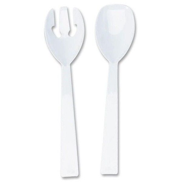 Tablemate Fork & Spoon Serving Set TBLW95PK4 (Set of 12) (310 MAD) ❤ liked on Polyvore featuring home, kitchen & dining, flatware, colored plastic utensils, plastic silverware, plastic serving spoons, contemporary flatware and white plastic spoons
