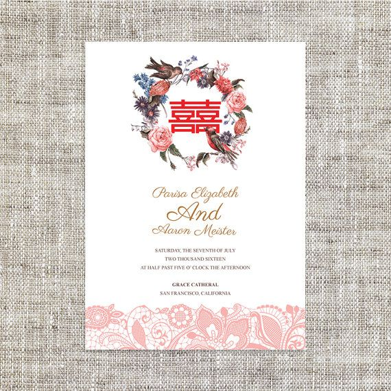 DIY Printable / Editable Chinese Wedding Invitation Card Template Instant Download_Lovely Birds Lace Traditional 婚禮喜帖 喜喜Double Happiness