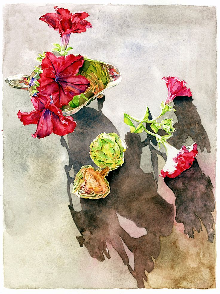 ⓒDenise Hilton Campbell Illustration - Petunias n Artichokes - Watercolor.  Watercolor, flowers, petunias, artichoke, food, red, still life, www.salzmanart.com representative