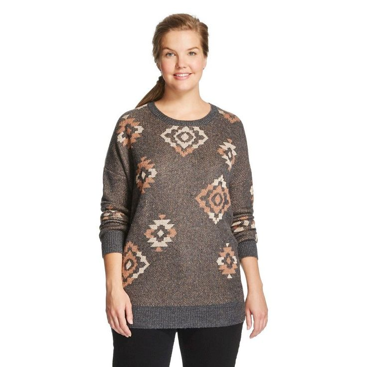 Women's Plus Size Pullover Sweaters Black Heather 2X - Mossimo Supply Co.(Juniors'), Variation Parent