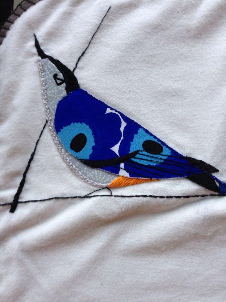 Charley harper design. Merimekko fabrics. Embroidered and appliquéd.