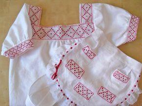 blusa y delantal del traje típico de la orotava (canarias)  tela de hilo,hilo calado canario