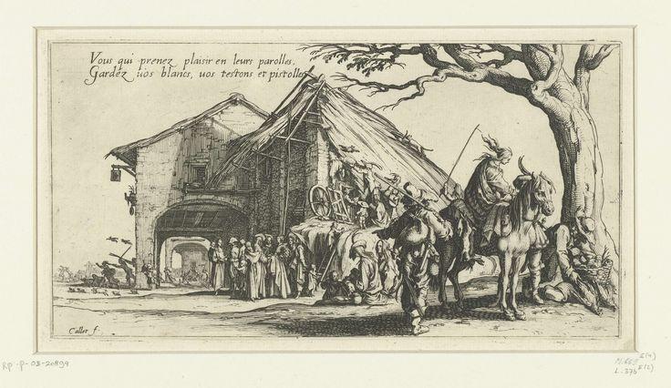 Jacques Callot | Zigeuners bij een herberg, Jacques Callot, 1621 - 1631 | Bij een herberg leest een aantal zigeunervrouwen een voorname heer en dame de hand, terwijl hun reisgenoten voedsel en goederen stelen. Bovenin de voorstelling twee regels Franse tekst. Deze prent is onderdeel van een serie van vier prenten met voorstellingen van het leven van zigeuners.