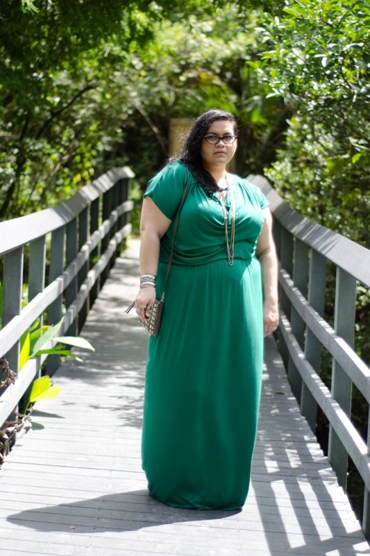 Emerald green plus size maxi dress