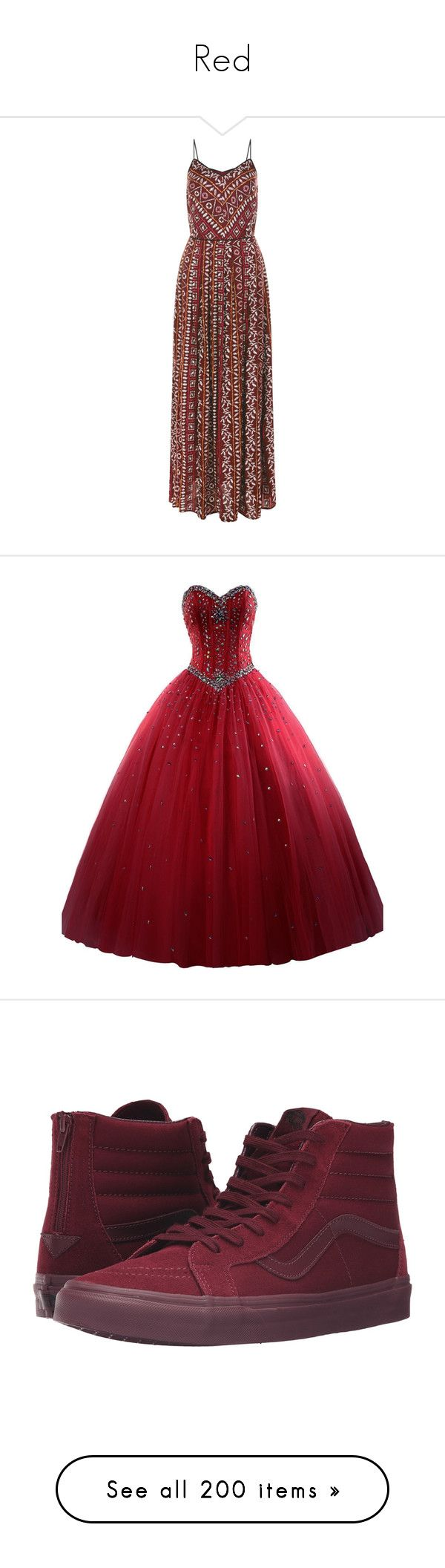 """""""Red"""" by ac-awesome ❤ liked on Polyvore featuring dresses, pink pattern, red pleated dress, print maxi dress, pleated dress, red dress, summer maxi dresses, beaded sweetheart dress, sweetheart neckline dress and red organza dress"""