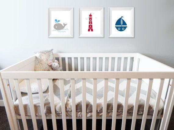 Triptyque Nautique  Affiche 8X10 chambre enfant  par Akwadesign