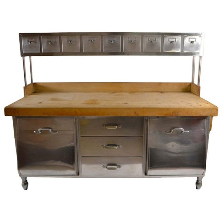 Perfect Industrial Stainless Steel And Wood Kitchen Work Station, Prep Table
