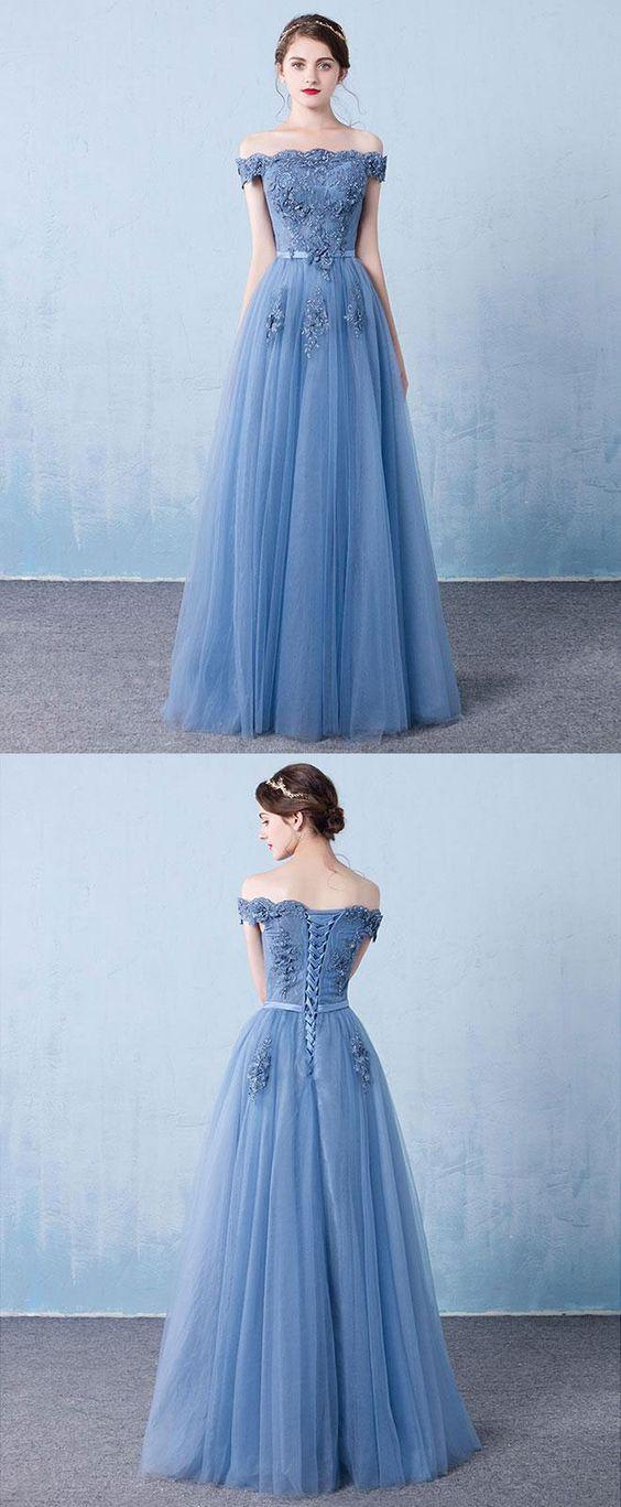 Blue tulle lace off shoulder  dress
