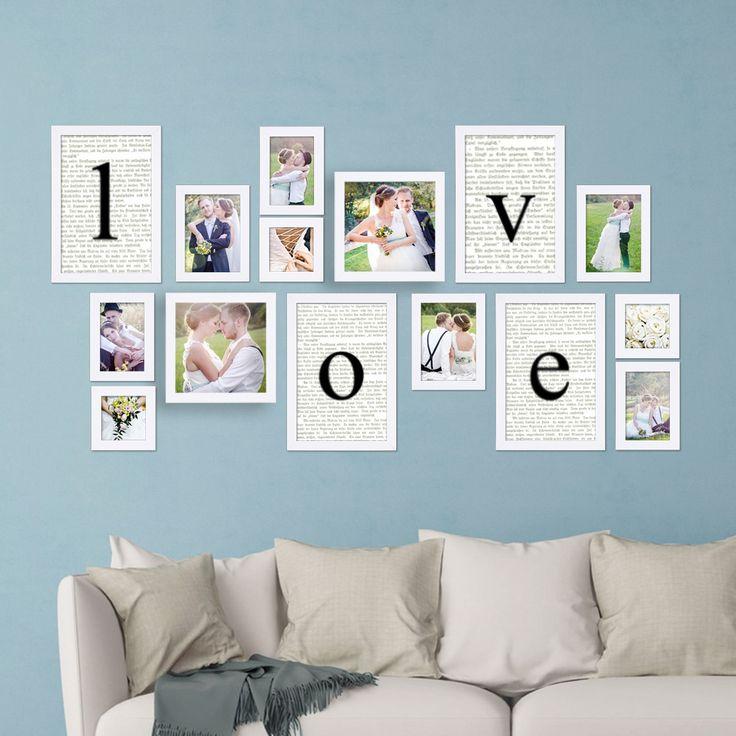 Liebesbriefe an der Wand – mit dem Photolini Bilderrahmen-Set werden die Hochzeitsfotos zu einer lebendigen Erinnerung.