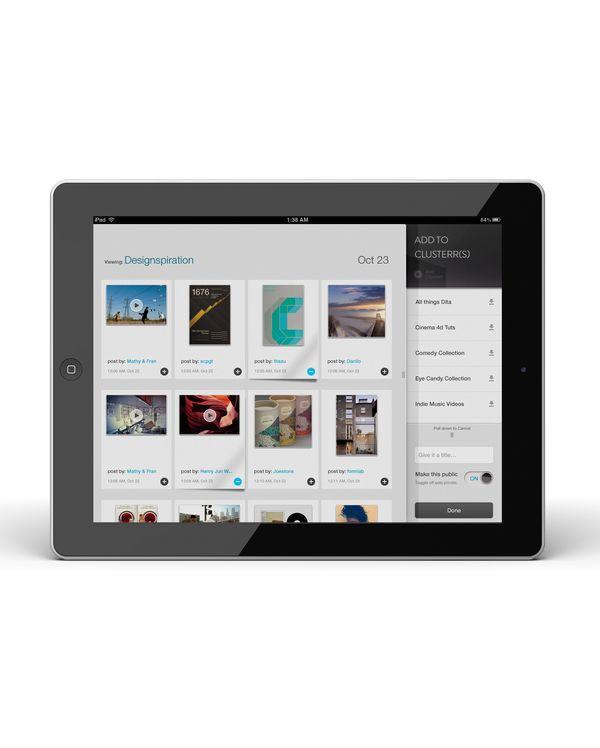 Clusterr iPad App (reissue 2012 by Omar Puig, via Behance