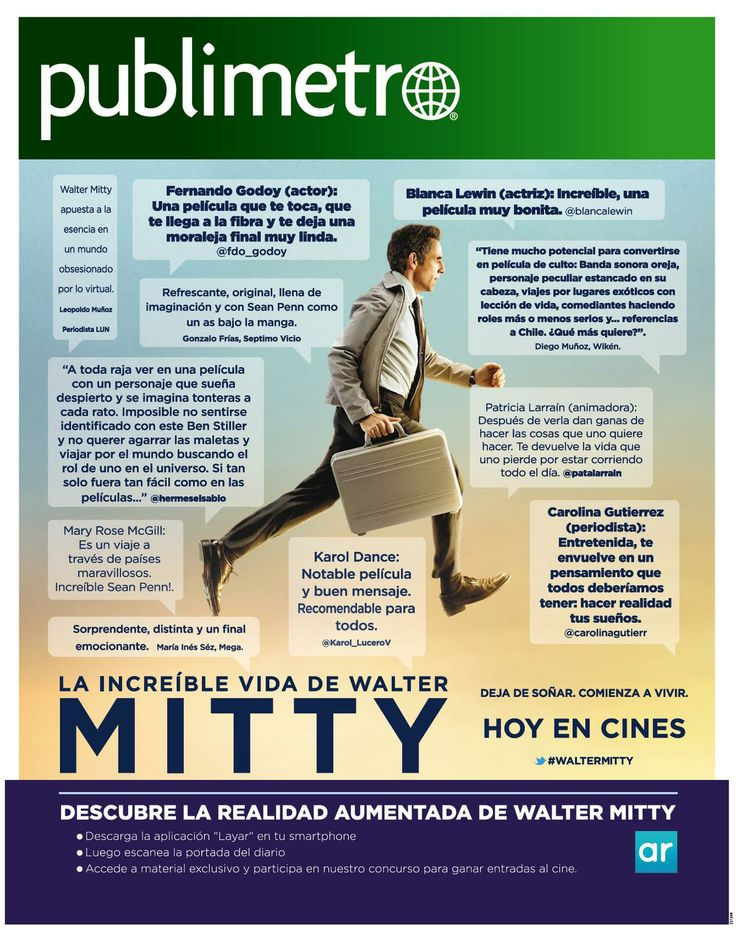 """[Spanish content, available for Chile ONLY] Nice interactive ad for the movie """"La increíble vida de Walter Mitty"""". Scan the page with the free @Layar App!"""