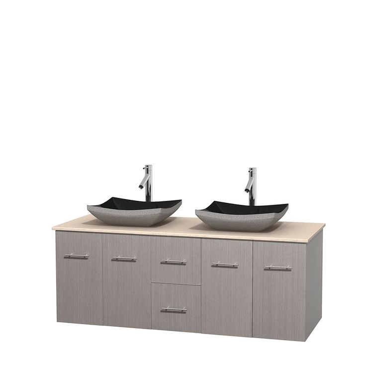 Wyndham Collection Centra 60-inch Double Bathroom Vanity in Grey Oak, No Mirror (Black Granite, Ivory Marble or White Carrera) (60 Grey Oak,IvMarble Top,Avalon Car Sinks,No Mir), Size Double Vanities