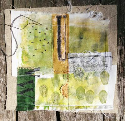 Gelli prints on fabric and then sewn into collage