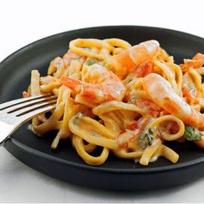Shrimp Pasta with Creamy Chipotle Sauce @keyingredient #cheese #tomatoes #shrimp