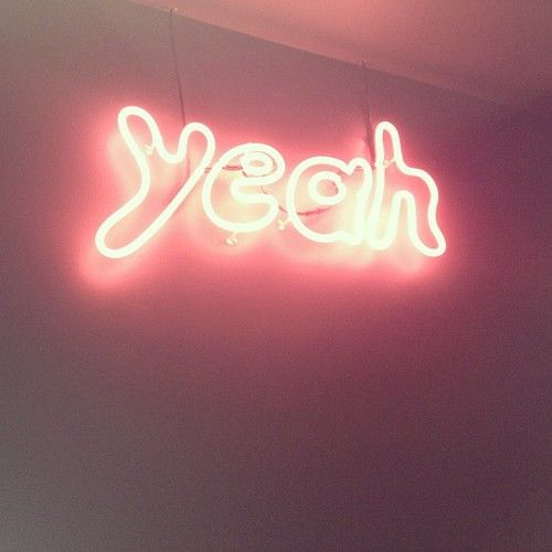 neon sign type typography yeah pink glow light night simple bubble writing font