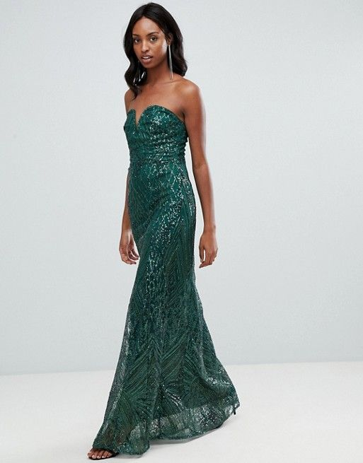 bab1a10322cb TFNC Tall patterned sequin bandeau maxi dress in green