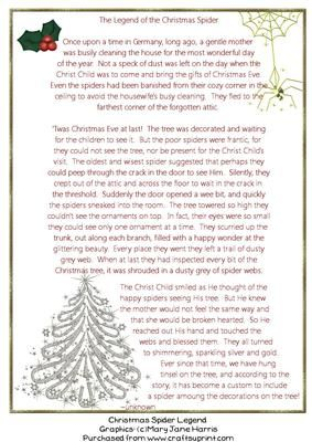 image regarding Legend of the Christmas Spider Printable titled Spider Poem Xmas Printable Very similar Keyword phrases