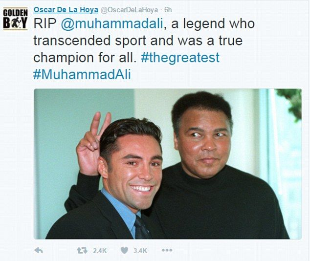Boxing legend turned promoter Oscar De La Hoya shared this snap of him and Ali who added his own brand of humour to the picture