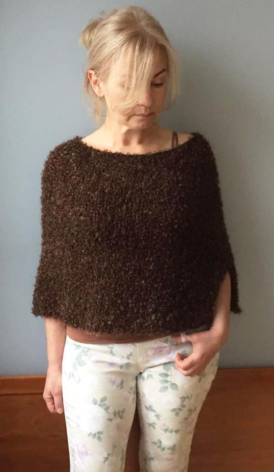 Brown women poncho-Wool cape-Knit cape-Women wool wrap-Knit capelet-Choko capelet-Capelet laine-Crop poncho-Winter cape-Laine cape-JPalKnits