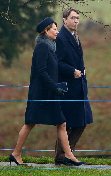 Carole Middleton and David Cholmondeley, Marquess of Cholmondeley attend the Sunday service at St Mary Magdalene Church, Sandringham on January 8, 2017 in King's Lynn, England.