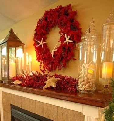 Beachy Christmas.: Holiday, Beach Christmas, Beach House, Beachy Christmas, Christmas Decor, Christmas Ideas, Coastal Christmas