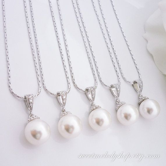 15% OFF SET of 6 Bridesmaid Gift Bridesmaid Jewelry Wedding Jewelry Bridal Jewelry White OR Cream Swarovski Round Pearl Drop Necklace