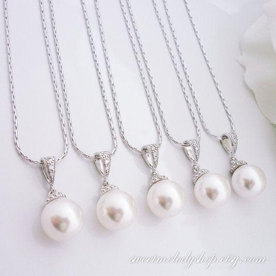 15% OFF SET of 6 Bridesmaid Gift Bridesmaid Jewelry Wedding Jewelry Bridal Jewelry White OR Cream Swarovski Round Pearl Drop Necklace