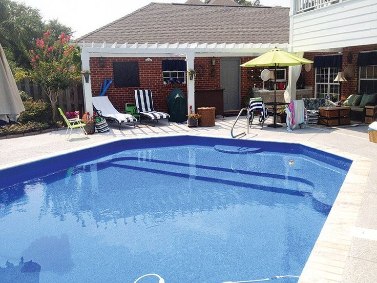 Vinyl pool with tanning ledge google search backyard for Pool design with tanning ledge
