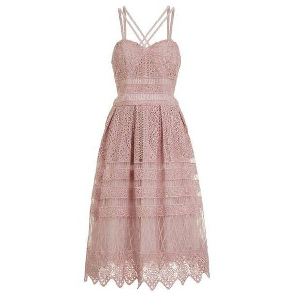 *Chi Chi London Mink Crochet Midi Skater Dress ($140) ❤ liked on Polyvore featuring dresses, crochet midi dress, midi skater dress, crochet skater dress, open back dresses and midi dress