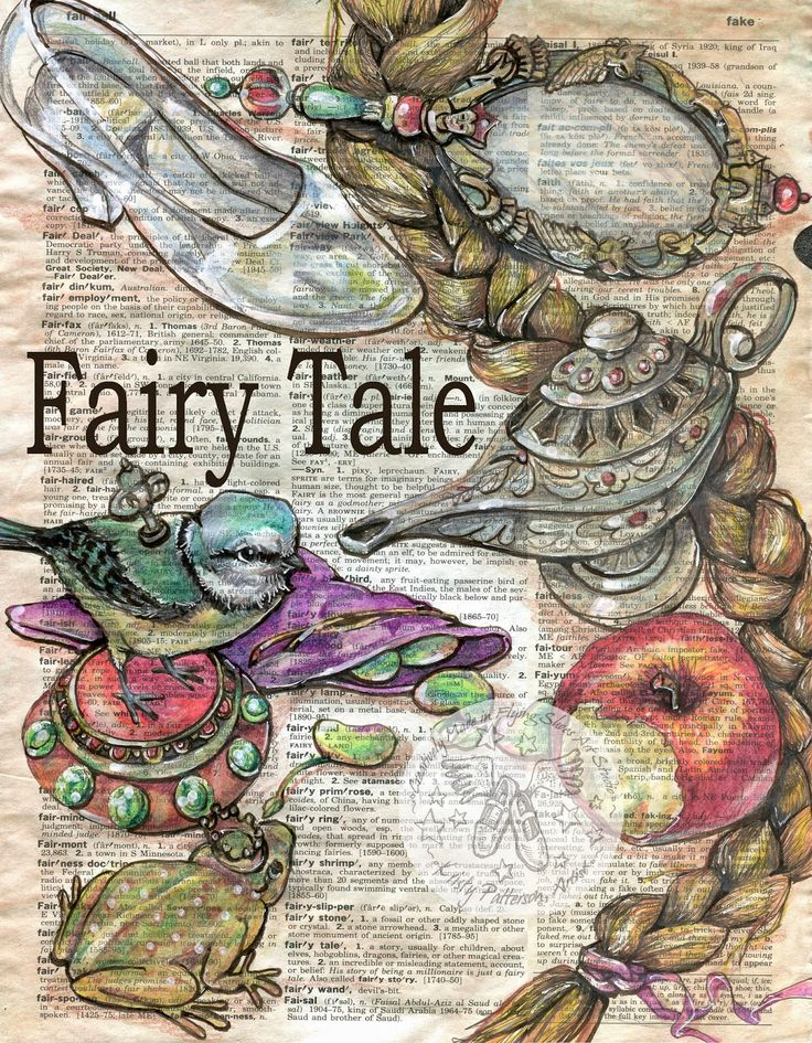Fairy Tale Drawing on Distressed, Dictionary Page - prints available at www.etsy.com/shop/flyingshoes - flying shoes art studio