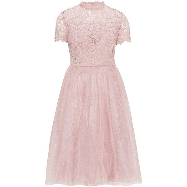 CHI CHI Curve Dusky-Pink Plus Size Lace detail tulle dress ($93) ❤ liked on Polyvore featuring dresses, plus size, floral skater skirt, pink skater skirt, pink floral dress, plus size short sleeve dresses and pink tulle dresses