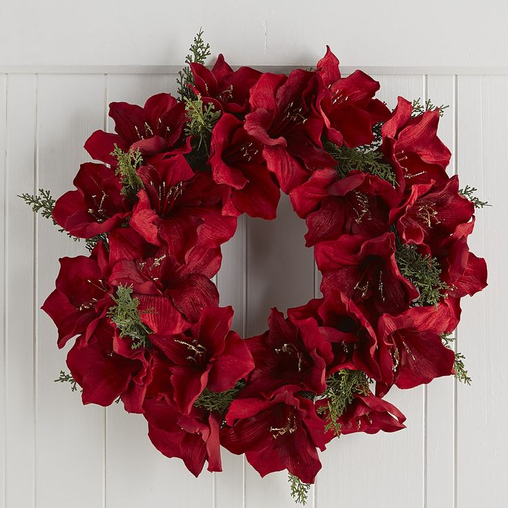 Velvet amaryllis christmas wreath 22 decor wreaths for Amaryllis christmas decoration