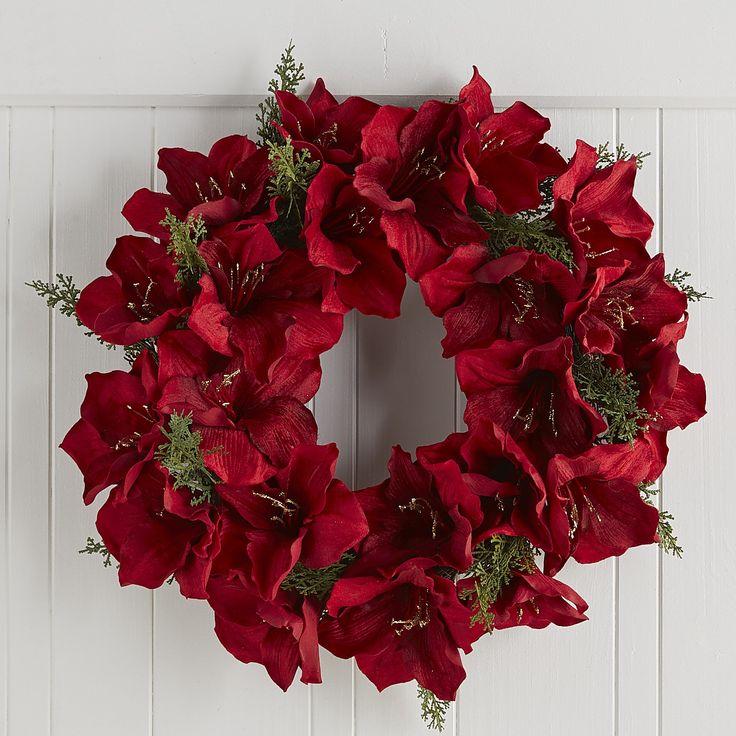 Velvet amaryllis christmas wreath 22 decor wreaths for Amaryllis christmas decoration