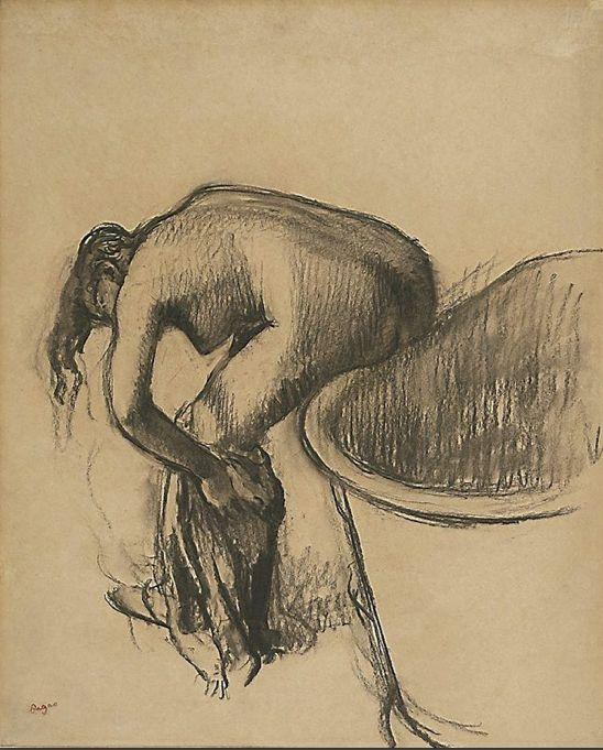 [La serie di monotipi sulle donne nella vasca o in bagno, furono rivoluzionari: per la prima volta un nudo femminile non simbolico, che non allude, ma che racconta di gesti quotidiani in luoghi che non si dovevano mostrare - per il secolo, l'Ottocento. Degas non era interessato alle dinamiche da bottega né alle pretese degli Impressionisti di lavorare per strada. La sua strada era nella ricerca, nei bordelli, ovunque potesse osservare il movimento del corpo nel quotidiano. Bg] Degas