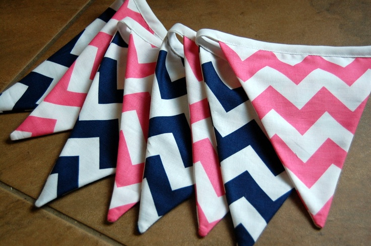 Pink and Navy Chevron Girl Themed Fabric Bunting Banner, Photo Prop, Birthdays, Showers, Room Decor, Eco Friendly, Ready to Ship. $24.00, via Etsy.