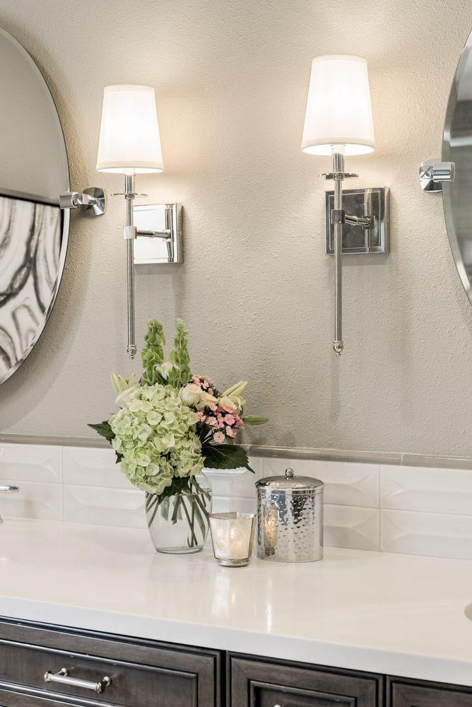 Bathroom Counter Details After Master Bath Remodel By Studio Steidley Modern Bathroom Bathroom Wall Sconces Dark Wood Bathroom