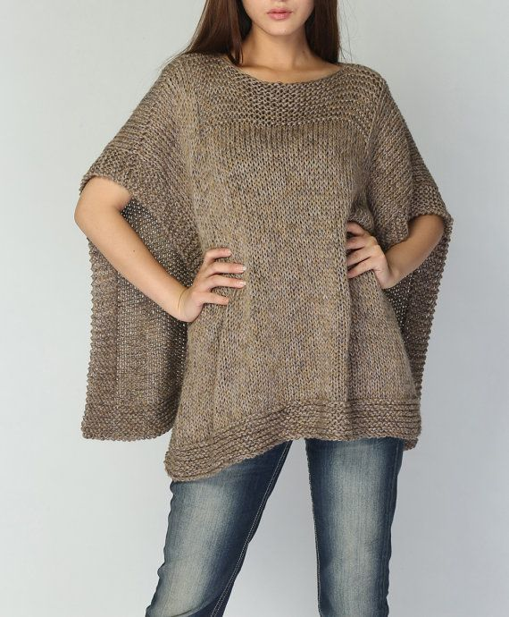 Hand knit woaman Poncho/ capelet eco cotton poncho dark wheat oatmeal