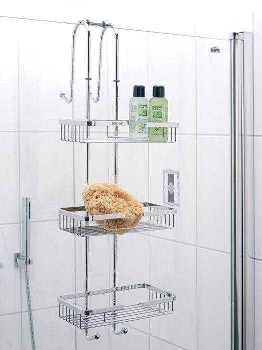 Hochwertiges Hängeregal für die Duschwand aus rostfreien Edelstahl mit 3 Ablagekörben und 4 Haken für Handtücher, Waschlappen und Schwämme. Das Regal wird mit 2 Halterungen an der Duschwand befestigt (geeignet für Duschwände mit einer Stärke bis zu 6,5 cm).