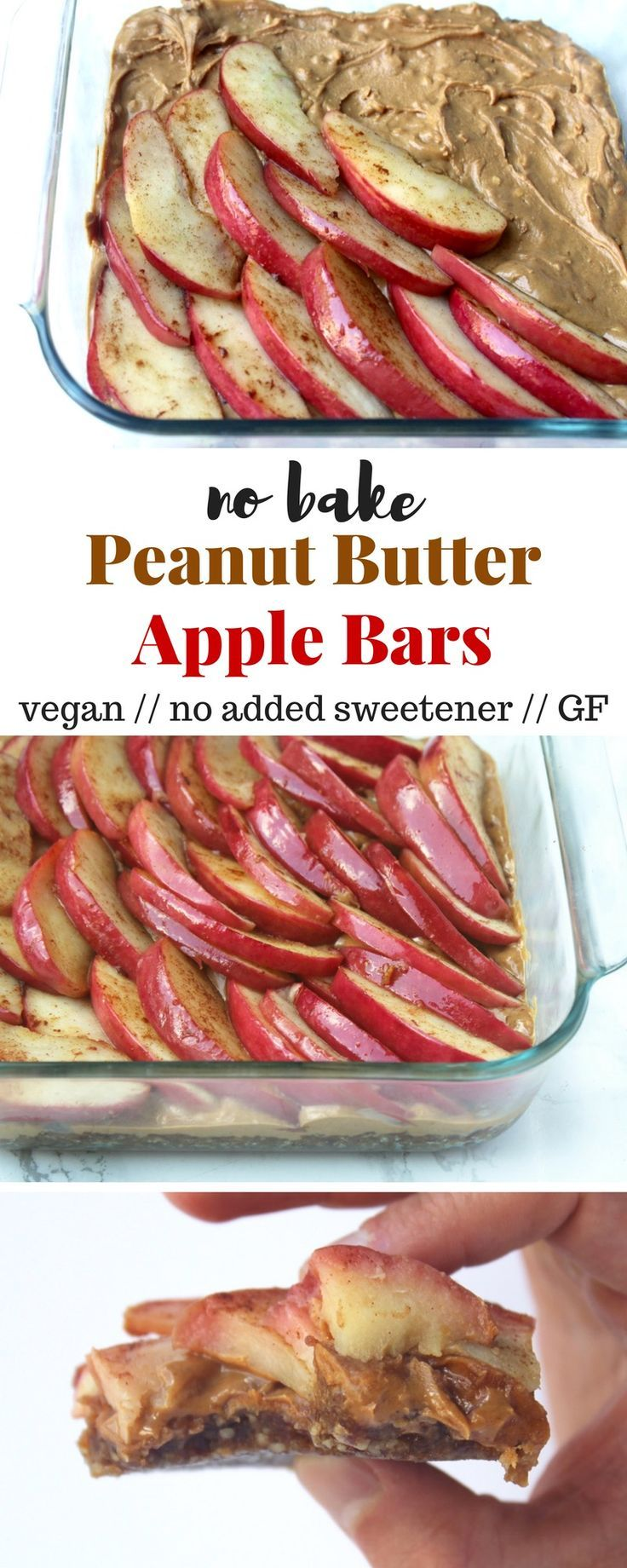 An easy no bake snack bar, these Peanut Butter Apple Bars come together in less than 15 minutes and are free of gluten, grains, and added sweetener! - Eat the Gains