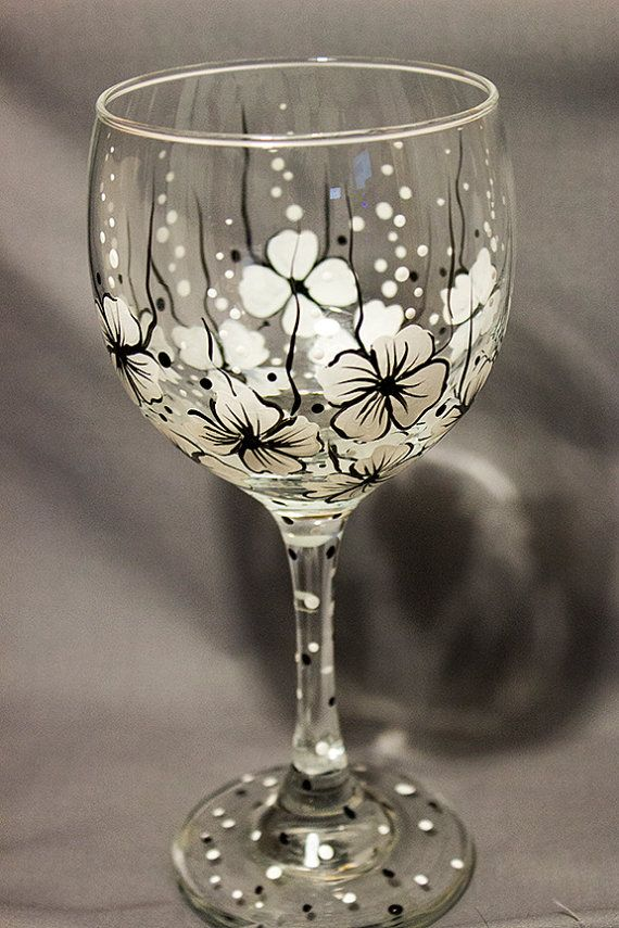 #craftshout0406 Wine Glass  Floral Wine Glass  Black and by enchantedezignstudio