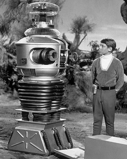 """Lost in Space"" (1965-68) Bob May as Robot, Billy Mumy as Will Robinson. Danger Will Robinson! Danger!"