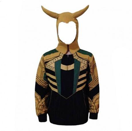 The Avengers costumes de cosplay Loki zip hoodies pour les hommes