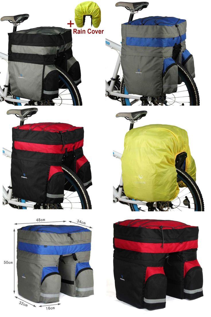 [Visit to Buy] 3 in 1 ROSWHEEL 60L Rear Bicycle bag Pannier MTB Large Capacity Cycling Carrier Bag  Bike Bag Mountain Bike Basket Accessories #Advertisement