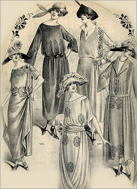 1920's daytime dress: The hemline is slightly higher, just below the knee, with very little emphasis on the waistline. As usual, the sleeves were slightly longer in the daytime than they were in the evening.