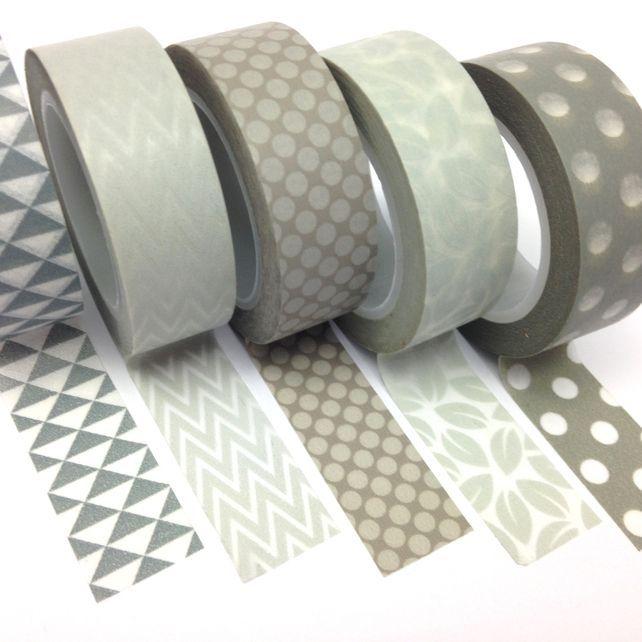 Grey Washi Tape Set Of 5 15mmx10m Rolls Wt0086s Washi Tape Washi Tape Set Washi
