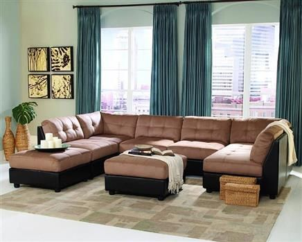 Claude Casual Latte Padded Microfiber Sectional · Brown Sectional  SofaModular Sectional SofaContemporary Sectional SofasCouchLiving Room ...